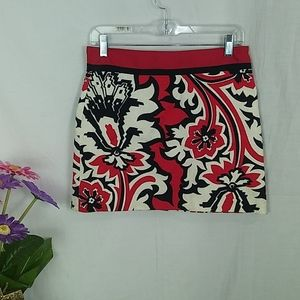 Milly floral red mini lined cotton skirt size 2